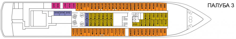 Палуба 3 на круизен кораб CELESTYAL Crystal - разположение на каюти, ресторанти, места за забавления и спорт