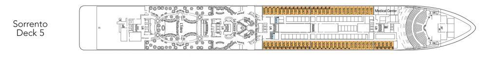 Палуба 5 - Sorrento на круизен кораб MSC Magnifica - разположение на каюти, ресторанти, места за забавления и спорт