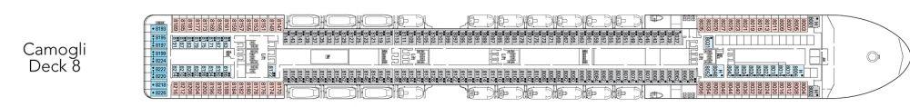 Палуба 8 - Camogli на круизен кораб MSC Magnifica - разположение на каюти, ресторанти, места за забавления и спорт