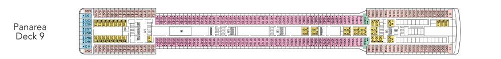 Палуба 9 - Panarea на круизен кораб MSC Magnifica - разположение на каюти, ресторанти, места за забавления и спорт