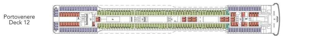 Палуба 12 - Portovenere на круизен кораб MSC Magnifica - разположение на каюти, ресторанти, места за забавления и спорт