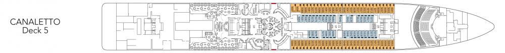 Палуба 5 - Canaletto на круизен кораб MSC Splendida - разположение на каюти, ресторанти, места за забавления и спорт