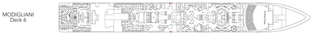 Палуба 6 - Modigliani на круизен кораб MSC Splendida - разположение на каюти, ресторанти, места за забавления и спорт