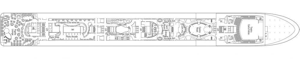 Палуба 7 Manzoni на круизен кораб MSC Poesia - разположение на каюти, ресторанти, места за забавления и спорт