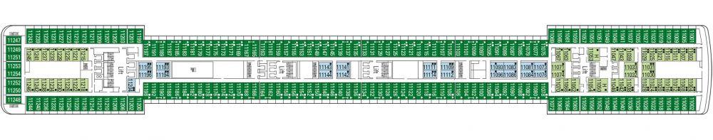 Палуба 11 D'Annunzio на круизен кораб MSC Poesia - разположение на каюти, ресторанти, места за забавления и спорт