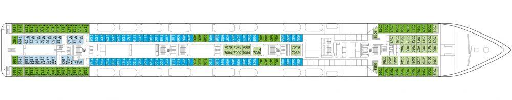 Палуба 7 Rigoletto на круизен кораб MSC Opera - разположение на каюти, ресторанти, места за забавления и спорт