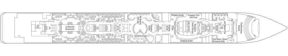 Палуба 5 Verdi на круизен кораб MSC Lirica - разположение на каюти, ресторанти, места за забавления и спорт