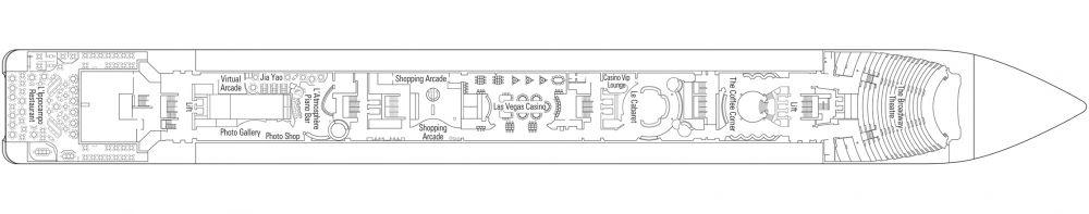 Палуба 6 Puccini на круизен кораб MSC Lirica - разположение на каюти, ресторанти, места за забавления и спорт