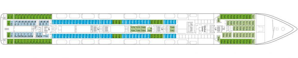 Палуба 7 Scarlatti на круизен кораб MSC Lirica - разположение на каюти, ресторанти, места за забавления и спорт