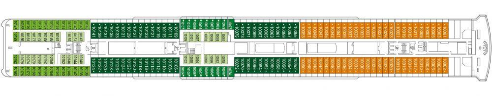 Палуба 10 Bellini на круизен кораб MSC Lirica - разположение на каюти, ресторанти, места за забавления и спорт