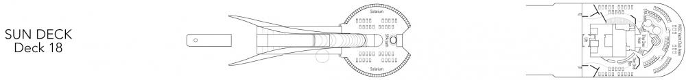 Палуба 18 - Sun на круизен кораб MSC Fantasia - разположение на каюти, ресторанти, места за забавления и спорт