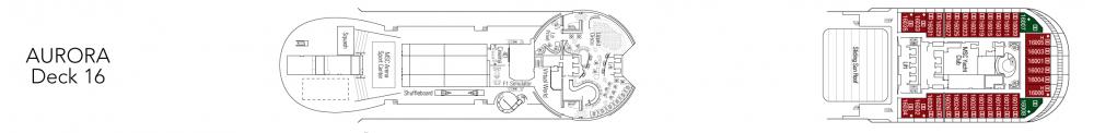 Палуба 16 - Aurora на круизен кораб MSC Fantasia - разположение на каюти, ресторанти, места за забавления и спорт