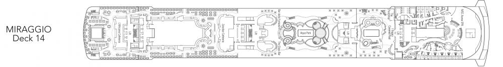 Палуба 14 - Miraggio на круизен кораб MSC Fantasia - разположение на каюти, ресторанти, места за забавления и спорт