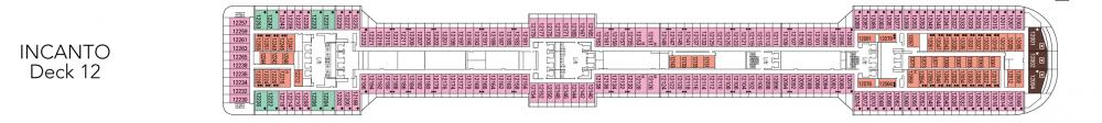 Палуба 12 - Incanto на круизен кораб MSC Fantasia - разположение на каюти, ресторанти, места за забавления и спорт