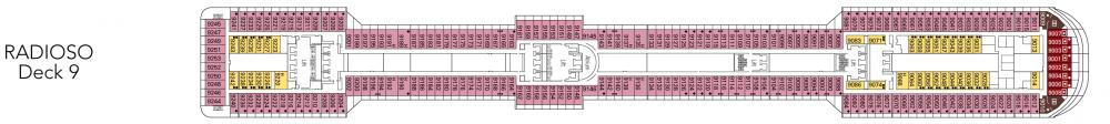 Палуба 9 - Radioso на круизен кораб MSC Fantasia - разположение на каюти, ресторанти, места за забавления и спорт