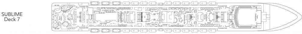Палуба 7 - Sublime на круизен кораб MSC Fantasia - разположение на каюти, ресторанти, места за забавления и спорт