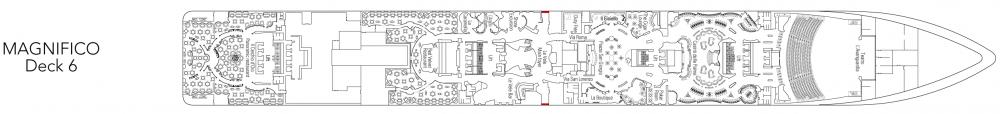 Палуба 6 - Magnifico на круизен кораб MSC Fantasia - разположение на каюти, ресторанти, места за забавления и спорт