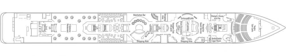 Палуба 5 Beethoven на круизен кораб MSC Sinfonia - разположение на каюти, ресторанти, места за забавления и спорт