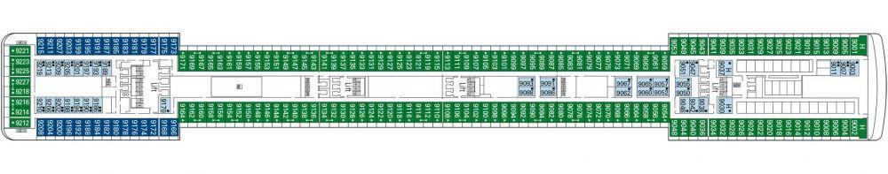 Палуба 9 Intermezzo на круизен кораб MSC Musica - разположение на каюти, ресторанти, места за забавления и спорт