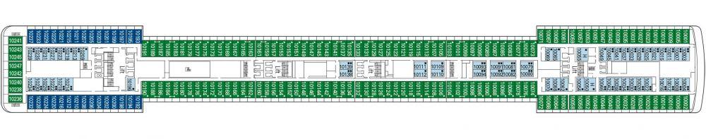 Палуба 10 Minuetto на круизен кораб MSC Musica - разположение на каюти, ресторанти, места за забавления и спорт