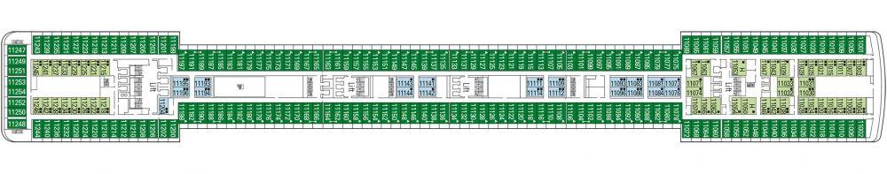 Палуба 11 Adagio на круизен кораб MSC Musica - разположение на каюти, ресторанти, места за забавления и спорт