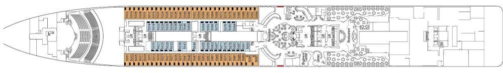Палуба 5 Saturno на круизен кораб MSC Divina - разположение на каюти, ресторанти, места за забавления и спорт