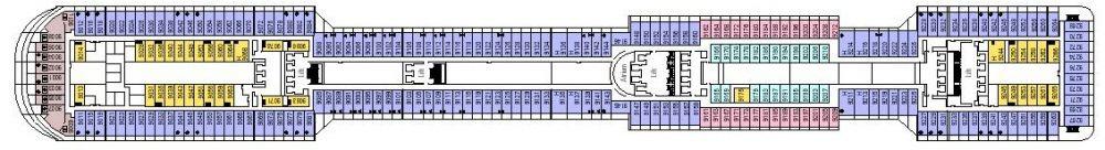 Палуба 9 Minerva на круизен кораб MSC Divina - разположение на каюти, ресторанти, места за забавления и спорт