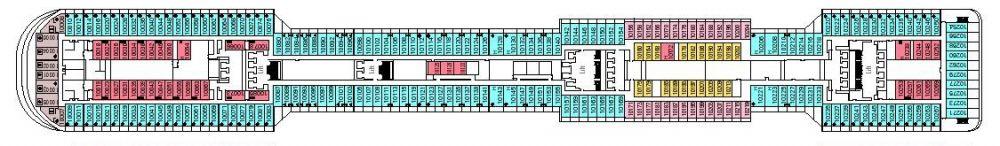 Палуба 10 Giunone на круизен кораб MSC Divina - разположение на каюти, ресторанти, места за забавления и спорт