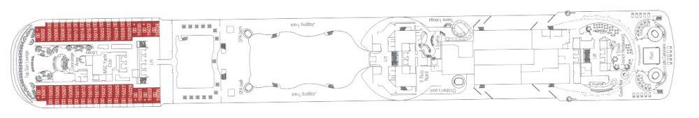 Палуба 15 Mercurio на круизен кораб MSC Divina - разположение на каюти, ресторанти, места за забавления и спорт