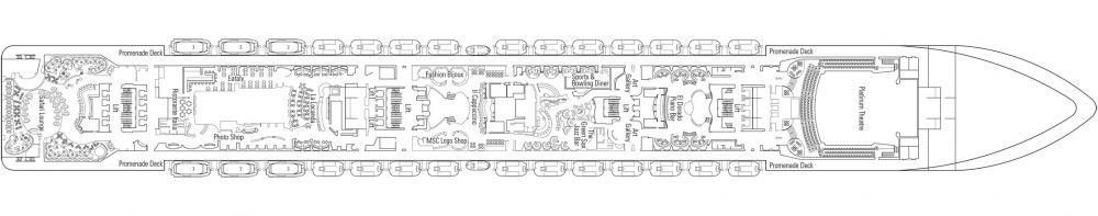 Палуба 7 Rovino на круизен кораб MSC Preziosa - разположение на каюти, ресторанти, места за забавления и спорт