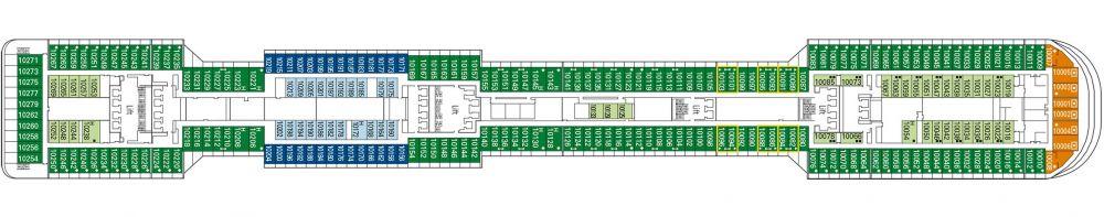 Палуба 10 Tormalina на круизен кораб MSC Preziosa - разположение на каюти, ресторанти, места за забавления и спорт