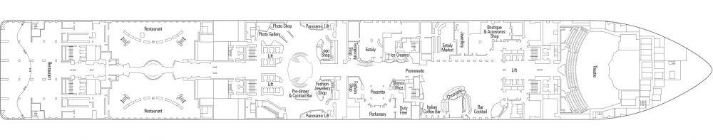 ПАЛУБА 6 PETRA на круизен кораб MSC Meraviglia - разположение на каюти, ресторанти, места за забавления и спорт