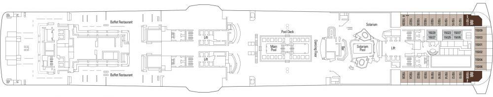 ПАЛУБА 15 Tour Eiffel на круизен кораб MSC Meraviglia - разположение на каюти, ресторанти, места за забавления и спорт