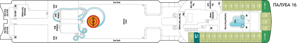Палуба 16 на круизен кораб Norwegian EPIC - разположение на каюти, ресторанти, места за забавления и спорт