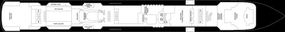 Палуба 7 на круизен кораб Norwegian Jade - разположение на каюти, ресторанти, места за забавления и спорт