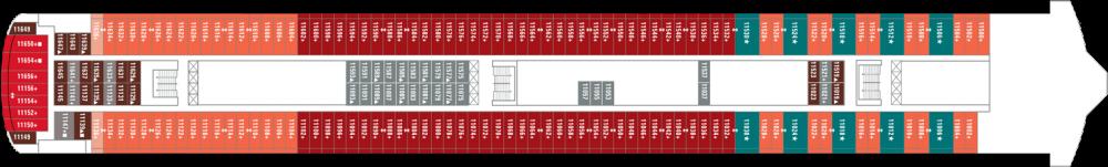 Палуба 11 на круизен кораб Norwegian Jade - разположение на каюти, ресторанти, места за забавления и спорт