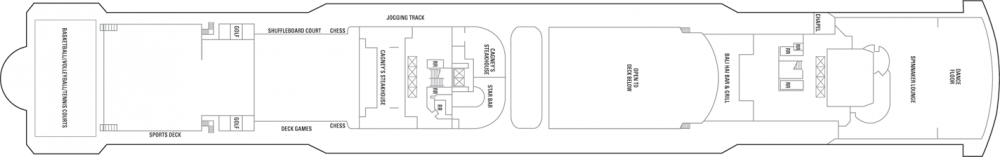 Палуба 13 на круизен кораб Norwegian Jade - разположение на каюти, ресторанти, места за забавления и спорт