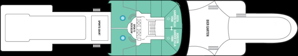Палуба 14 на круизен кораб Norwegian STAR - разположение на каюти, ресторанти, места за забавления и спорт