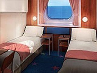 Описание на каюта  Външна каюта с ограничена видимост – категория OК на круизен кораб Norwegian STAR – обзавеждане, площ, разположение