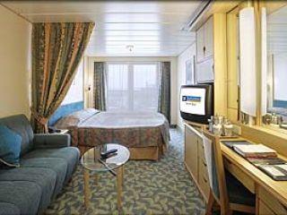 Описание на каюта Deluxe Oceanview Stateroom - категория Е1 на круизен кораб NAVIGATOR of the Seas  – обзавеждане, площ, разположение