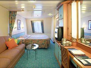 Описание на каюта Large Oceanview Stateroom – категория F   на круизен кораб ADVENTURE of the Seas – обзавеждане, площ, разположение