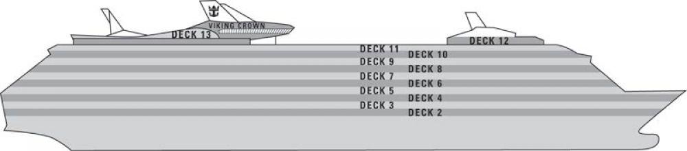 Карта Палуби на круизен кораб LIBERTY of the Seas - разположение на каюти, ресторанти, места за забавления и спорт