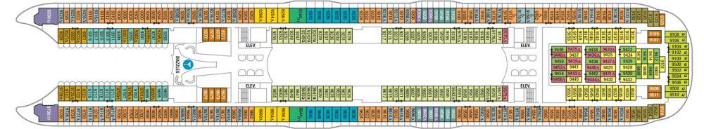 Палуба №9 на круизен кораб HARMONY of the Seas - разположение на каюти, ресторанти, места за забавления и спорт