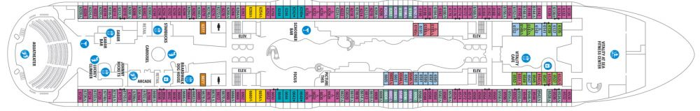 Палуба №6 на круизен кораб HARMONY of the Seas - разположение на каюти, ресторанти, места за забавления и спорт