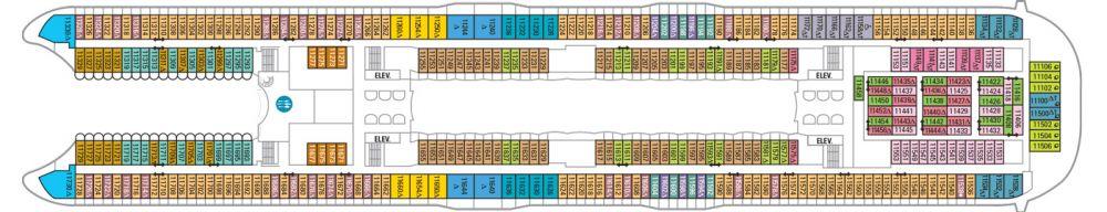 Палуба №11 на круизен кораб HARMONY of the Seas - разположение на каюти, ресторанти, места за забавления и спорт