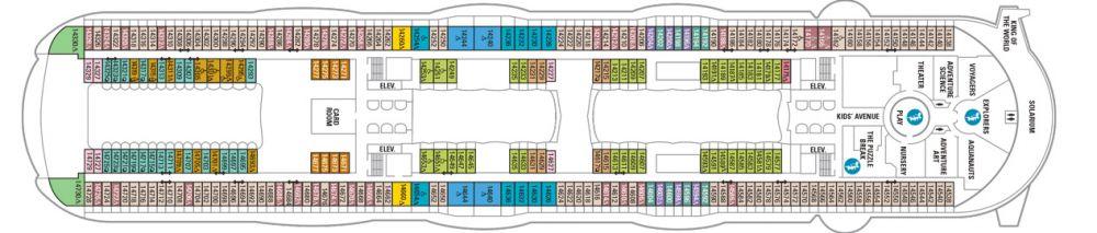Палуба №14 на круизен кораб HARMONY of the Seas - разположение на каюти, ресторанти, места за забавления и спорт
