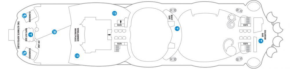 Палуба №16 на круизен кораб HARMONY of the Seas - разположение на каюти, ресторанти, места за забавления и спорт