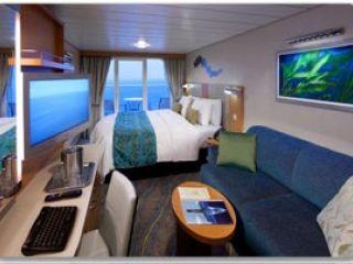 Описание на каюта Каюта с морски изглед на круизен кораб HARMONY of the Seas – обзавеждане, площ, разположение
