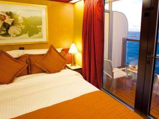Описание на каюта Каюта с балкон - Samsara  на круизен кораб Costa DELIZIOSA – обзавеждане, площ, разположение