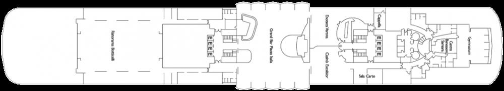 Палуба 8 - Верона на круизен кораб Costa neoROMANTICA - разположение на каюти, ресторанти, места за забавления и спорт